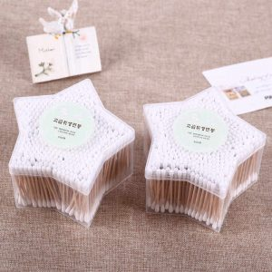 500PCS High Quality Wooden Stick Cotton Ear Buds in Star shape box
